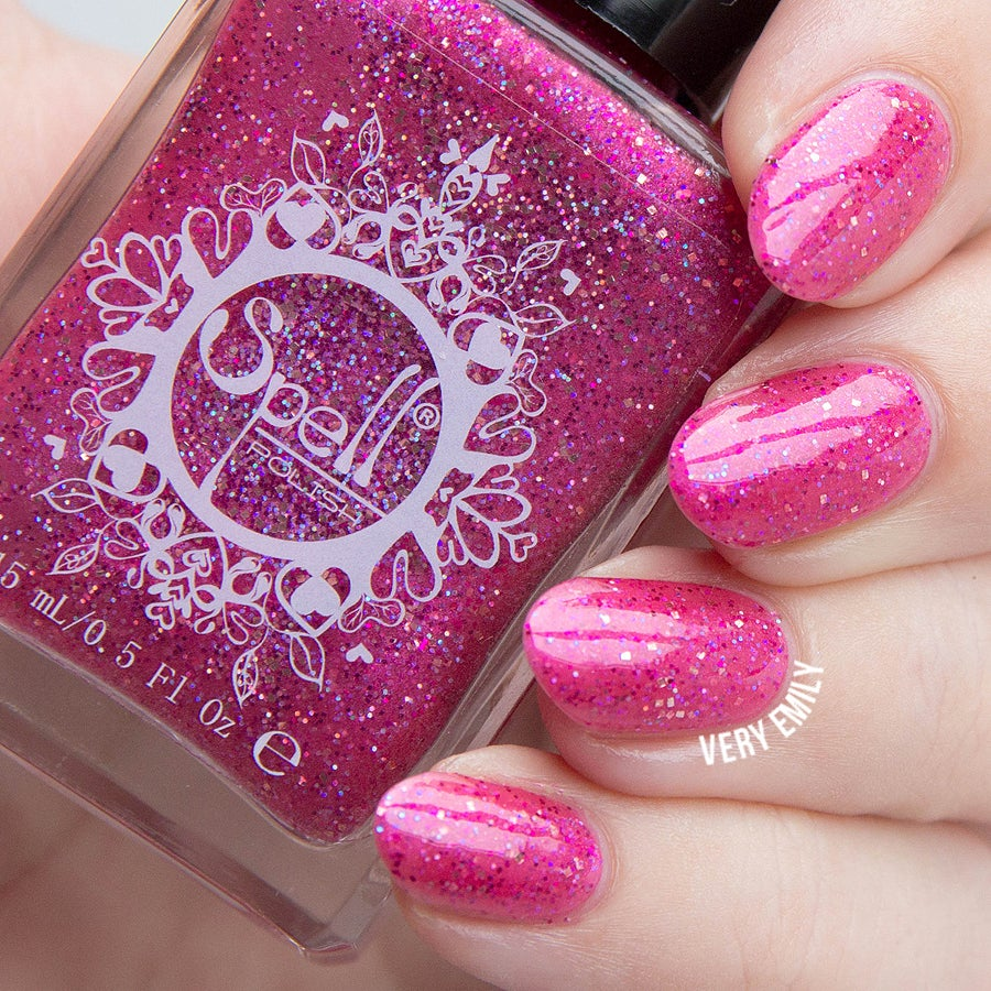 Shimmer And Sparkle Nail Polish: ~Crown Of Rubies~ Raspberry Pink Glitter Shimmer Spell