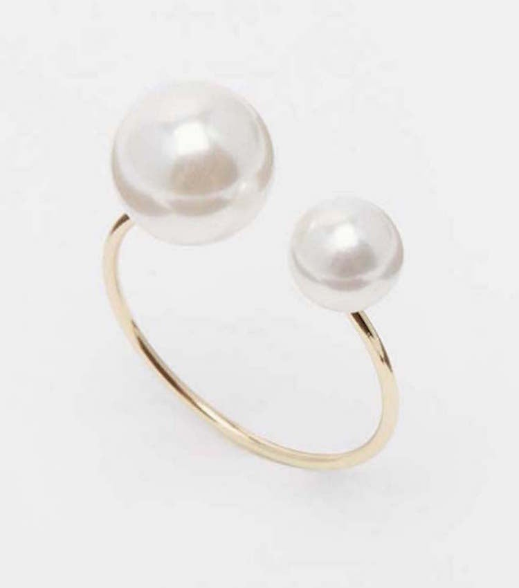 Image of Faux Pearl Open Ring (More Colors)