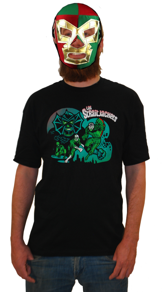 """Image of LOS STRAITJACKETS """"THE FURTHER ADVENTURES OF LOS STRAITJACKETS"""" MEN'S T-SHIRT"""