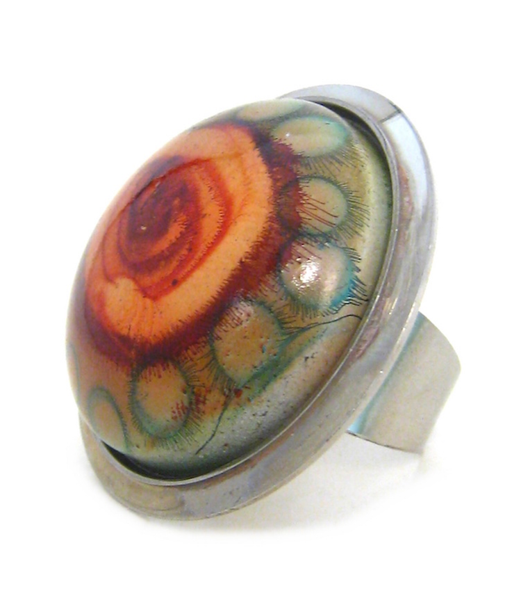 Image of Glazed Abstract Flower Ring