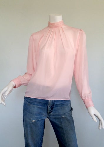 Image of Pink High Collared Blouse