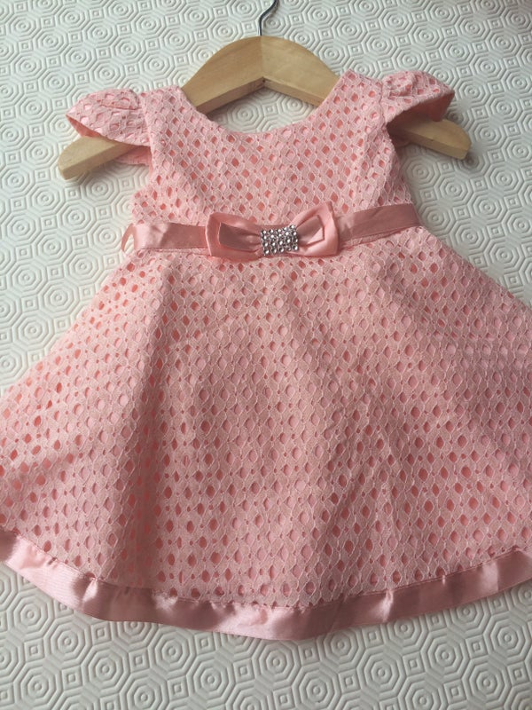 Image of Girls Pink Diamante Bow Dress