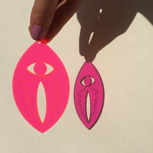 Image of Womens Intuition Earrings - Pink Fluro