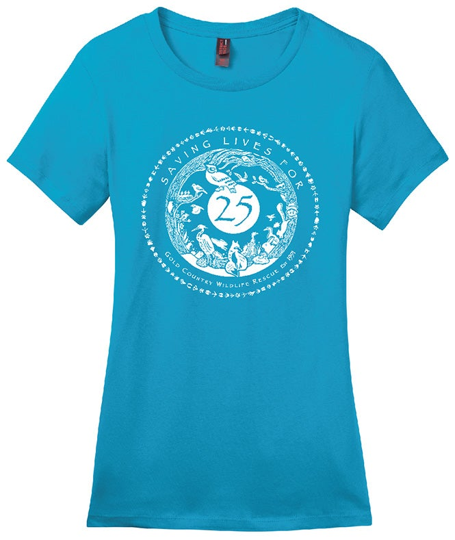 Image of Ladies Crew T-Shirt with Special GCWR 25th Anniversary Logo- Bright Turquoise