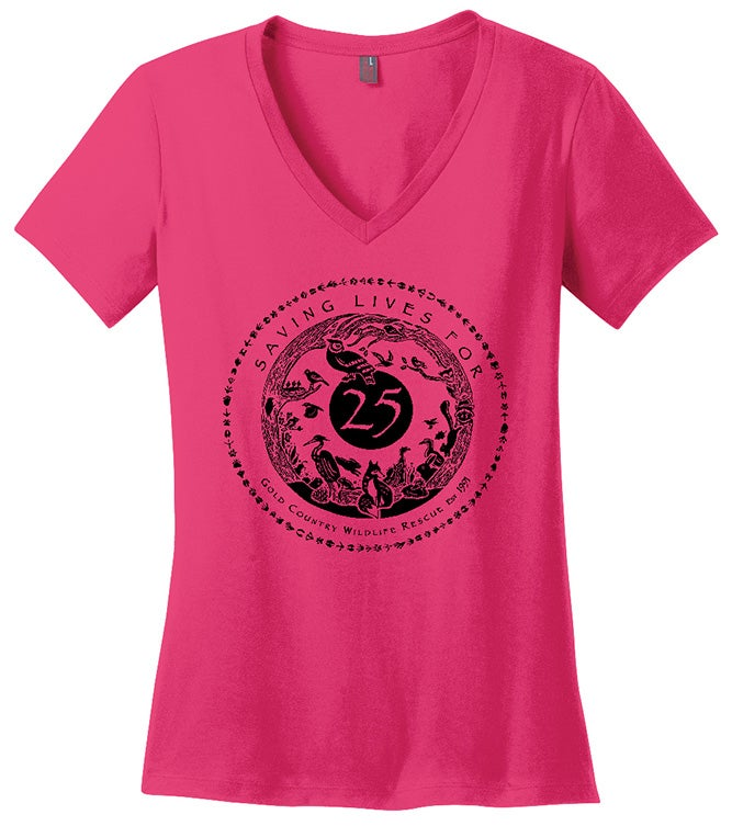 Image of Ladies V-Neck Tee with Special GCWR 25th Anniversary Logo- Dark Fuchsia