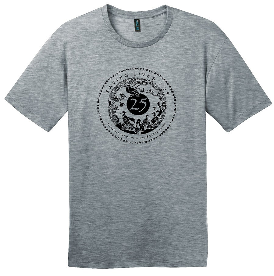 Image of Mens Crew Tee with GCWR Special 25th Anniversary Logo- Heathered Steel