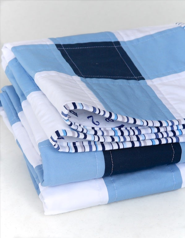 Image of Navy Blue and White Gingham Baby/Child Quilt