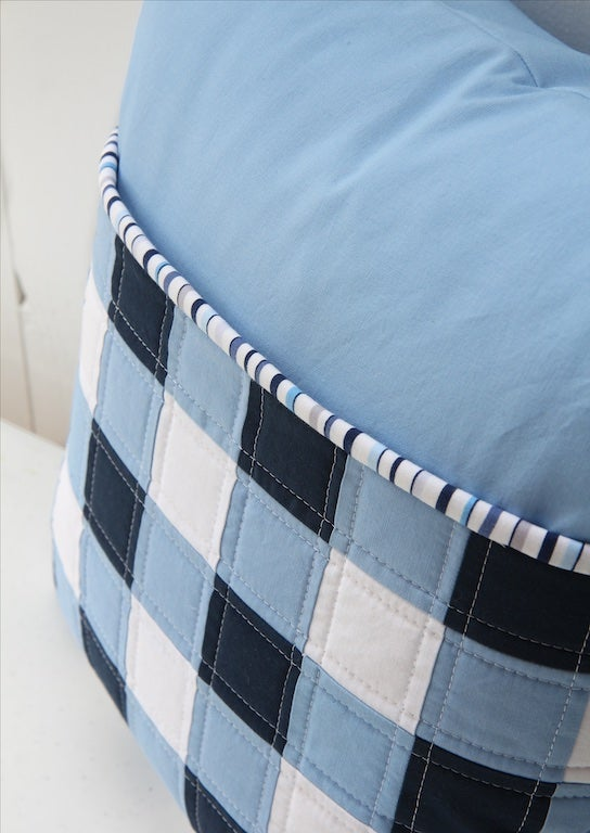 Image of Navy and White Gingham Pillow
