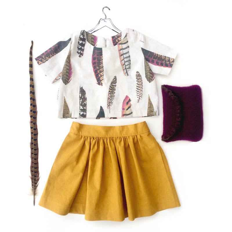 Image of feather + goldenrod crop set | 4T
