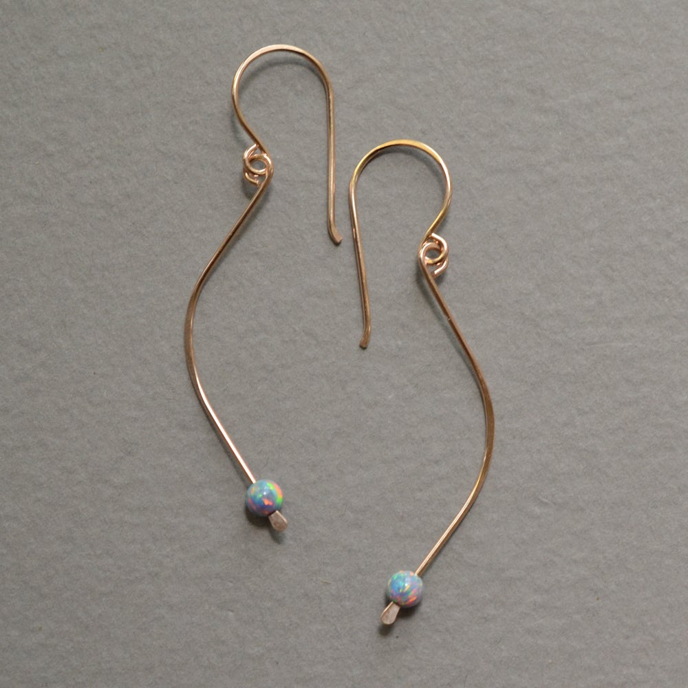 Image of 14kt rose gold-filled thin curve earrings with simulated opal