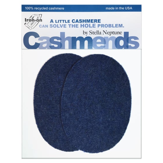 Image of Iron-On Cashmere Elbow Patches  - Heather Blue Ovals - Limited Edition!