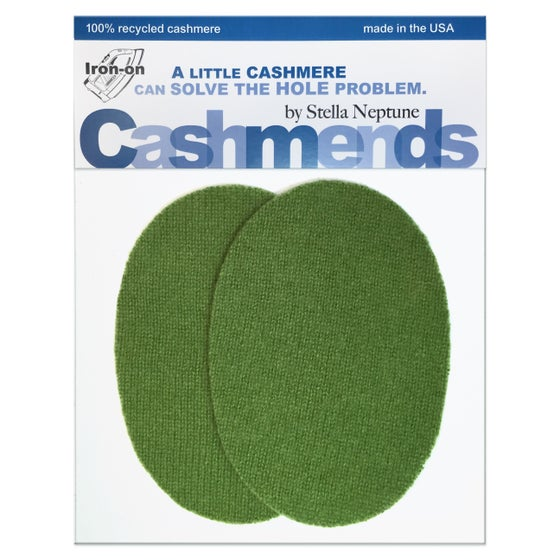 Image of Iron-On Cashmere Elbow Patches - Moss Green Ovals