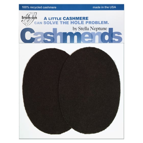 Image of Iron-On Cashmere Elbow Patches - Dark Brown Ovals