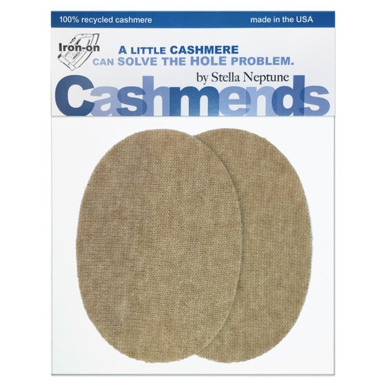 Image of IRON-ON CASHMERE ELBOW PATCHES - Oatmeal Ovals