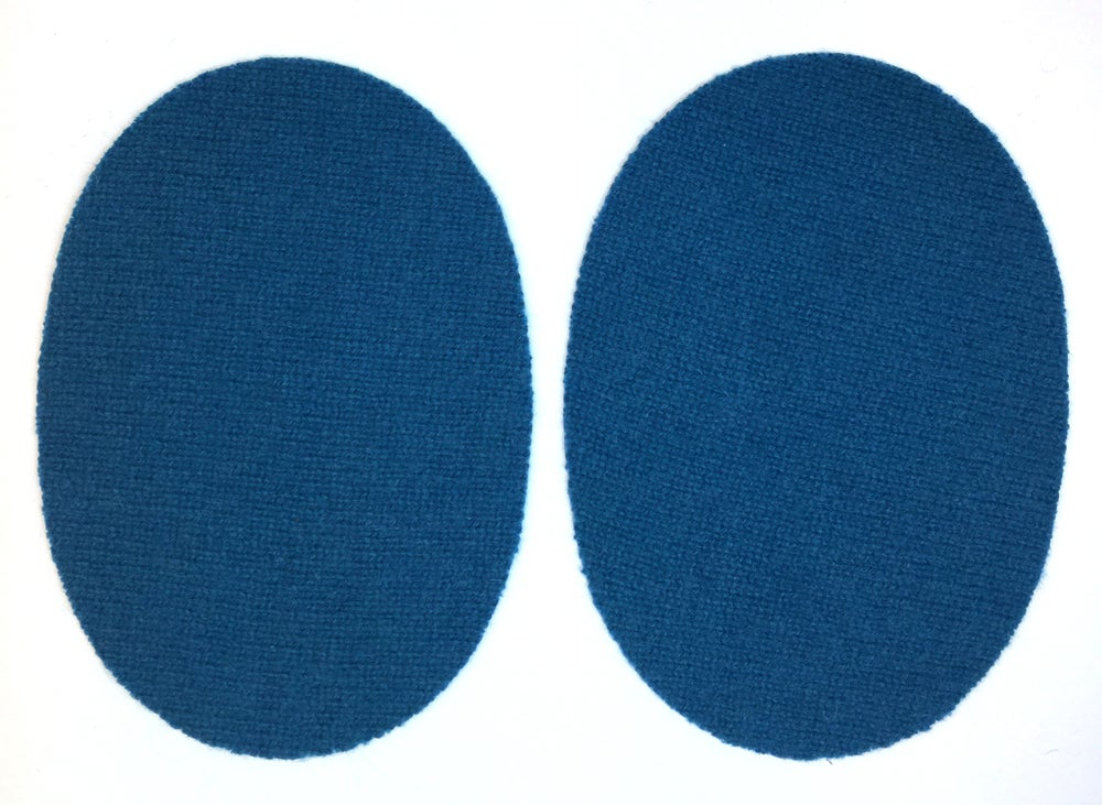 Image of Iron-On Cashmere Elbow Patches  - Dark Turquoise Ovals