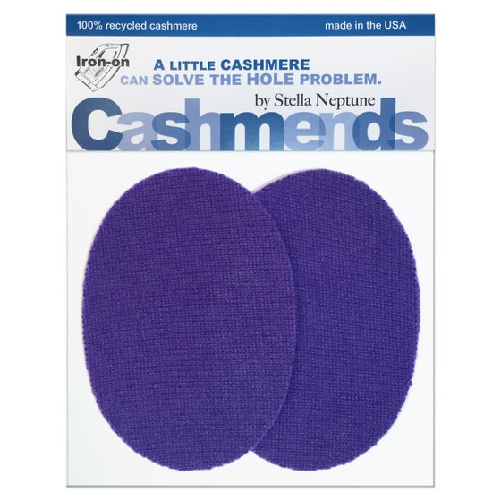 Image of Iron-On Cashmere Elbow Patches - Dark Lilac Ovals