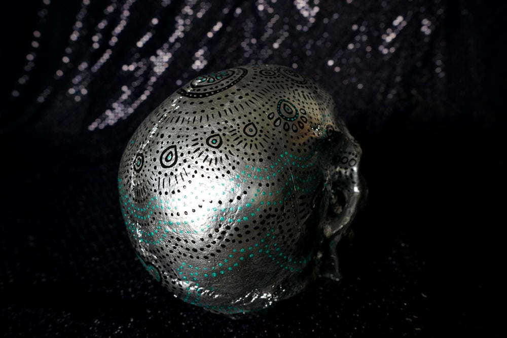 Image of ☠ Silver & Black Custom Skull Piece ☠