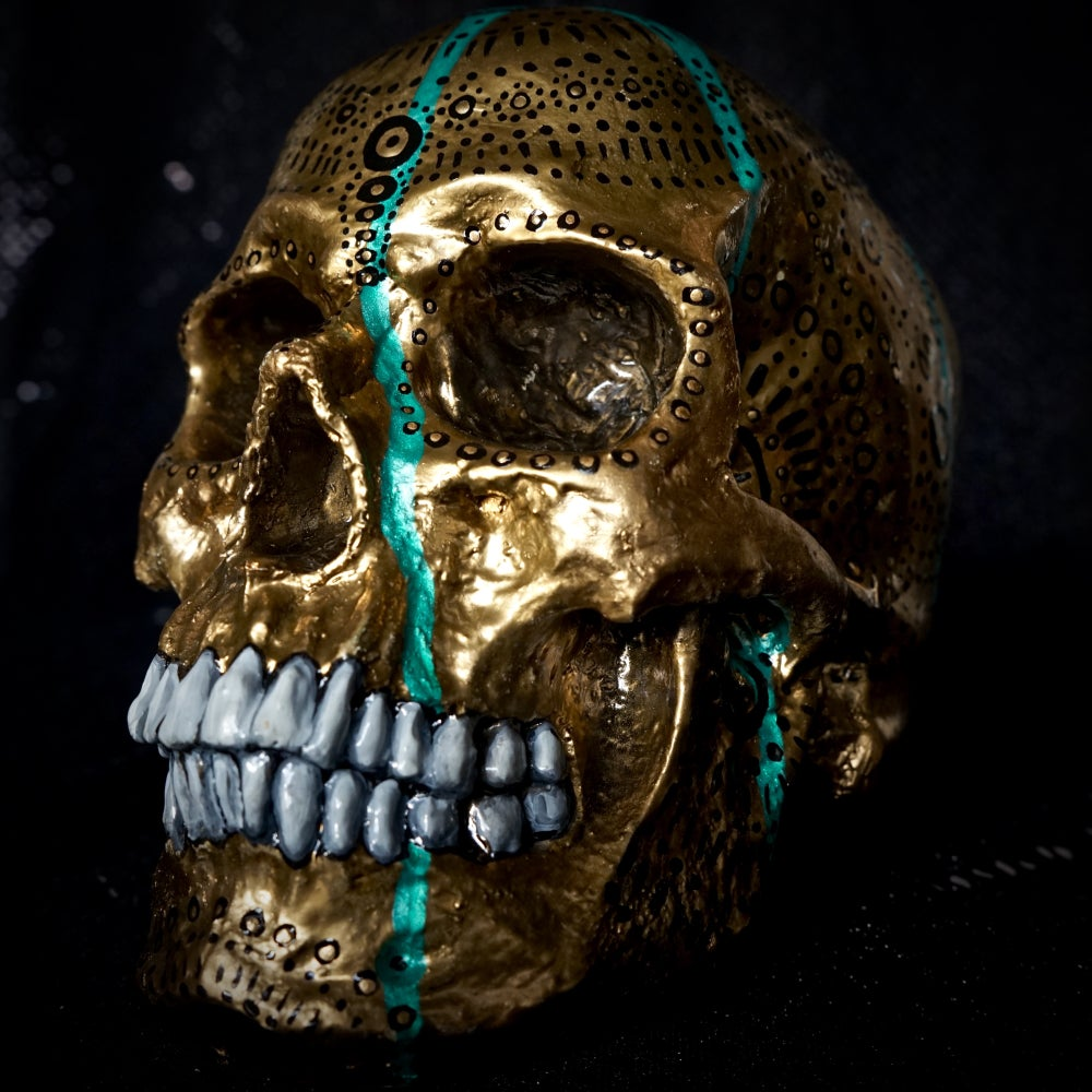 Image of ☠ Gold & Black Custom Skull Piece ☠