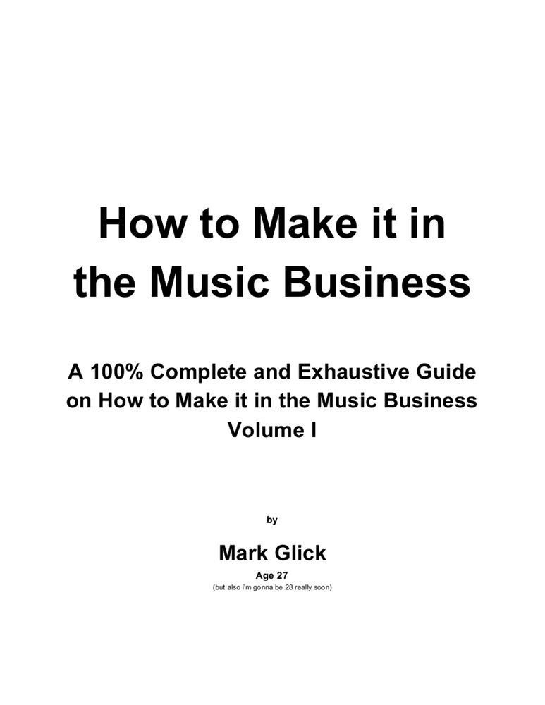 "Image of ""How To Make It In The Music Business"" zine"