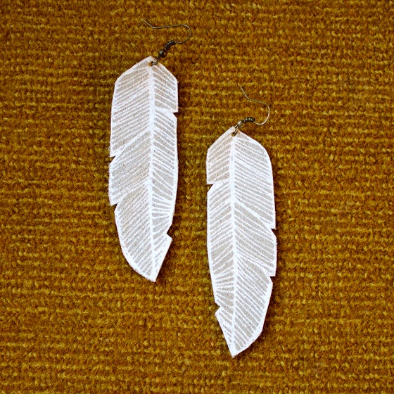 Image of Screen Printed Leather Earrings-Gray and White