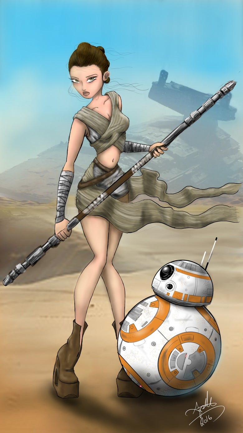 Image of Sexy Rey and BB8