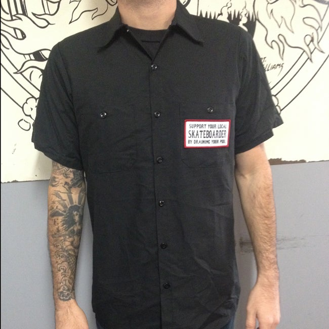 Image of Support Your Local Skateboarder by Draining your Pool Red Kap Button Up Shirt