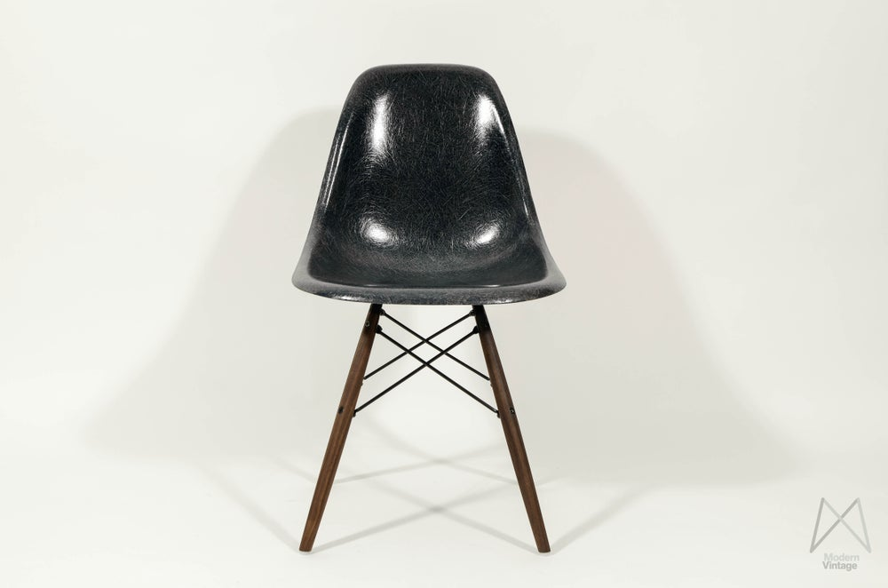Image of Eames Herman Miller DSW Navy Blue Rare early Summit production Walnut Dowel Base
