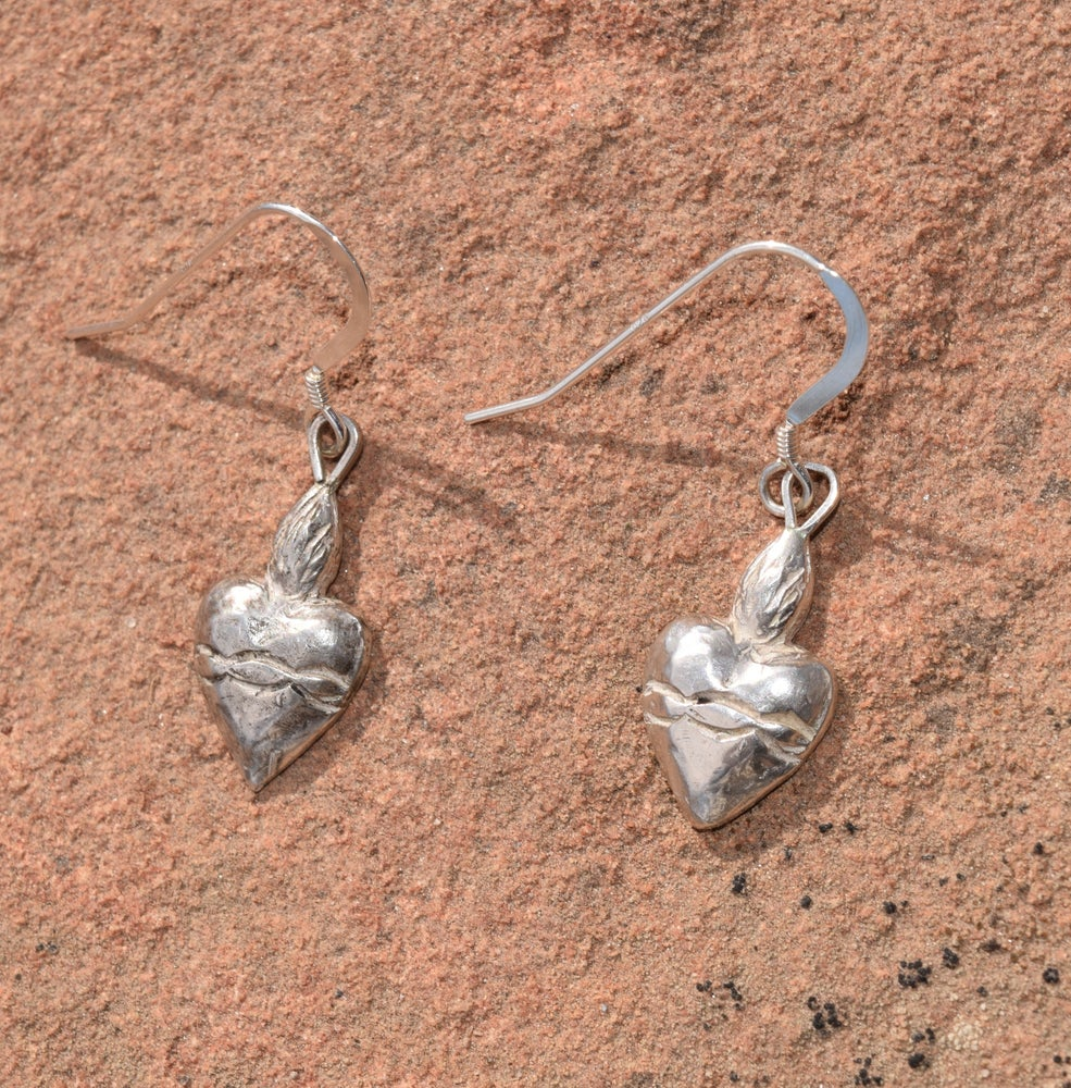 Image of Sacred Heart Repousse Earrings