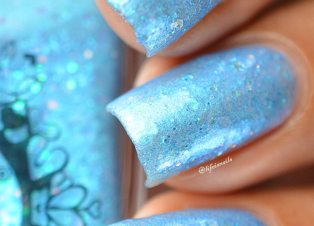 "Image of ~Puddles of Magic~ sky blue glitter shimmer Spell nail polish ""Legends & Dreams""!"