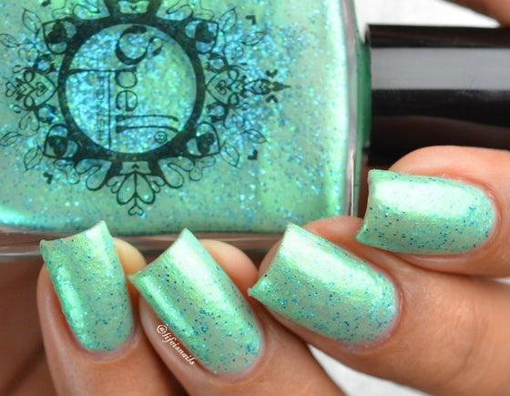"Image of ~Magical Bracelet~ seafoam green glitter flakie Spell nail polish ""Legends & Dreams""!"