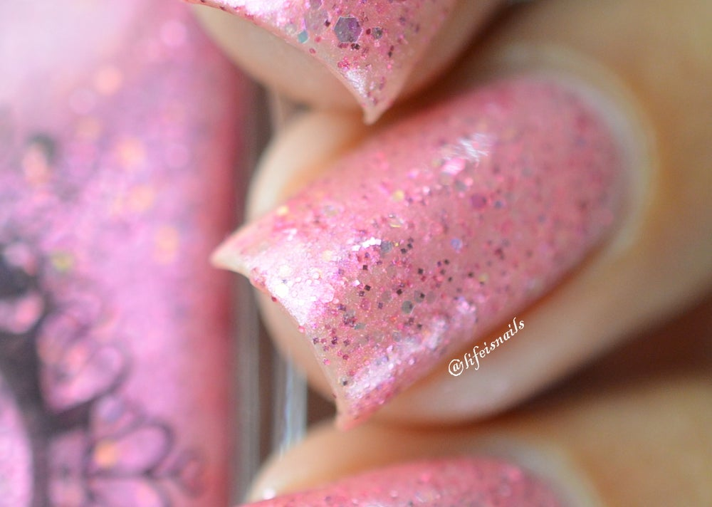 """Image of ~Spider Pearls~ baby pink glitter shimmer Spell nail polish """"Legends & Dreams""""!"""