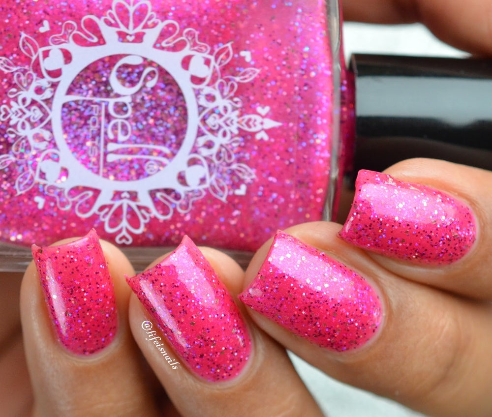 "Image of ~Crown of Rubies~ raspberry pink glitter shimmer Spell nail polish ""Legends & Dreams""!"