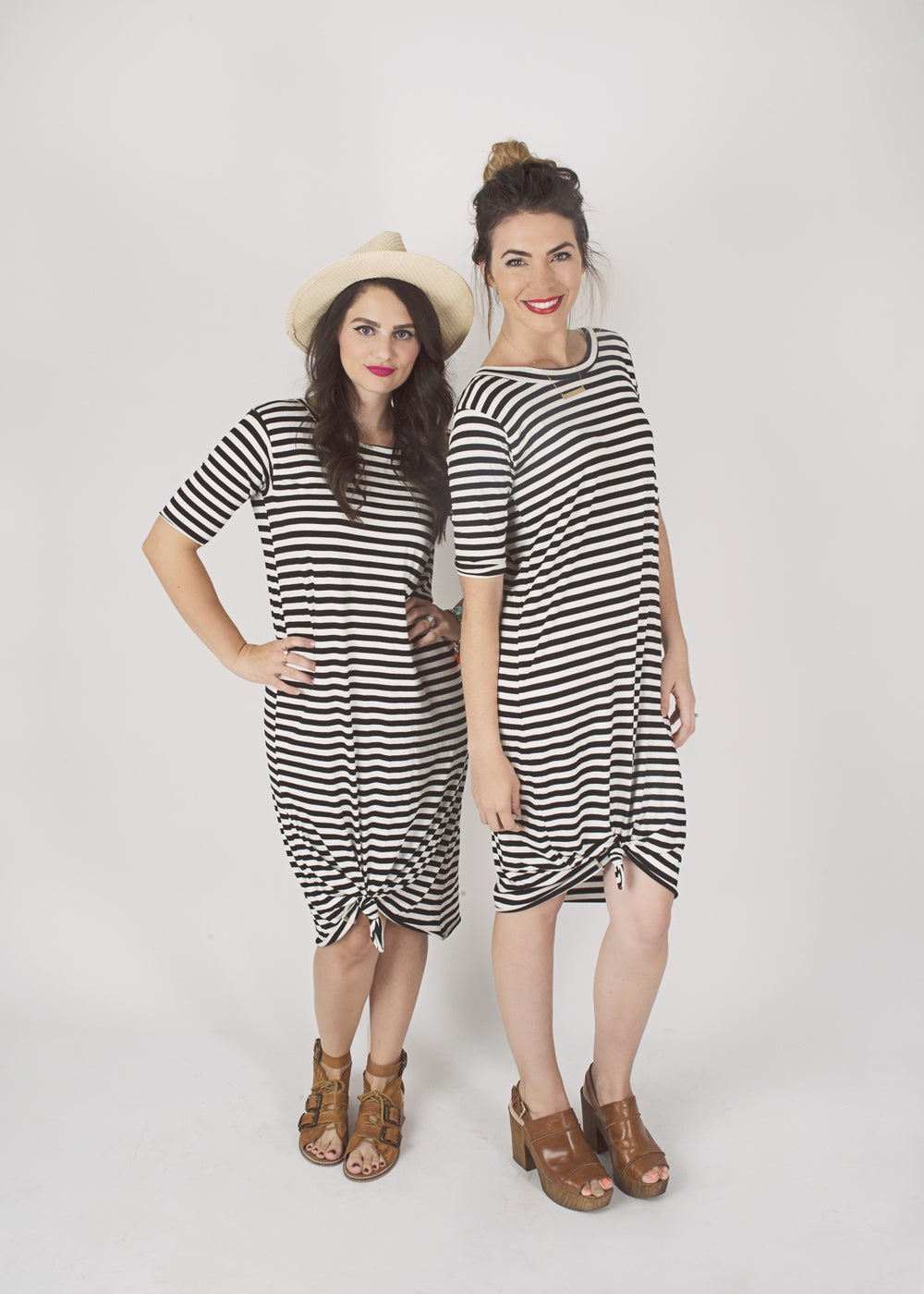 Image of Women's Black and White Stripe Knot Knit Dress
