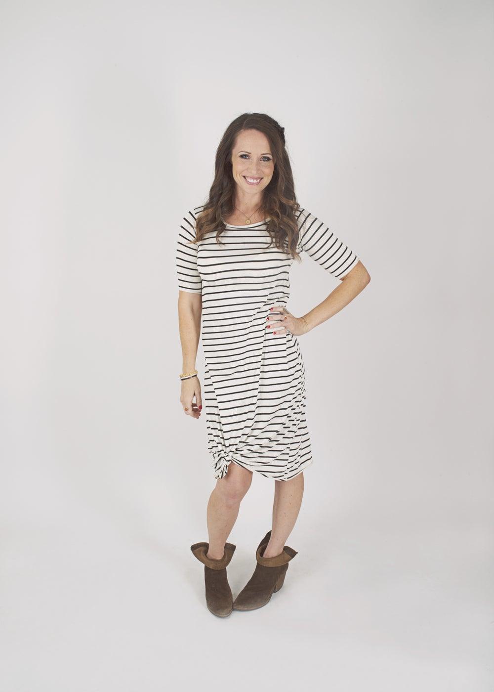 Image of Women's White Pin Striped Knot Knit Dress
