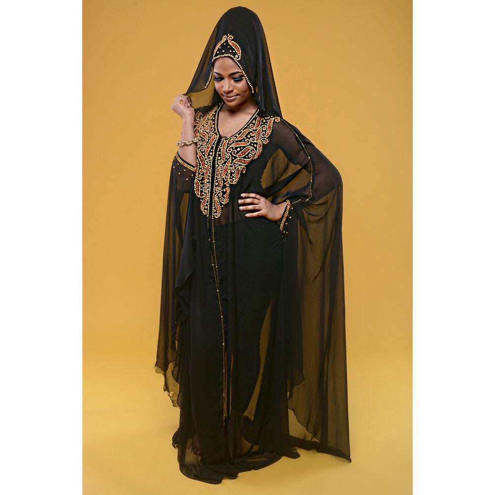 "Image of Gabby Safari ""Handbeaded & HANDSTONNED "" Abaya"