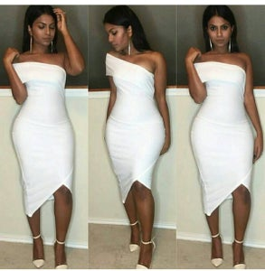 Image of FASHION WHITE CUTE OFF SHOULDER DRESS