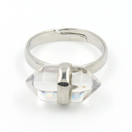 Image of Double Point Clear Quartz Ring