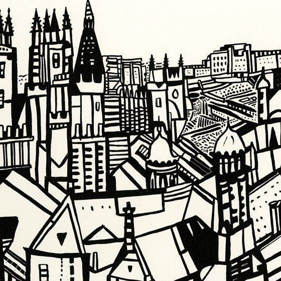 Image of Edinburgh view screen print