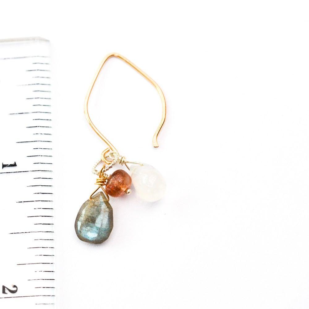 Image of Sunstone moonstone mixed metal earrings