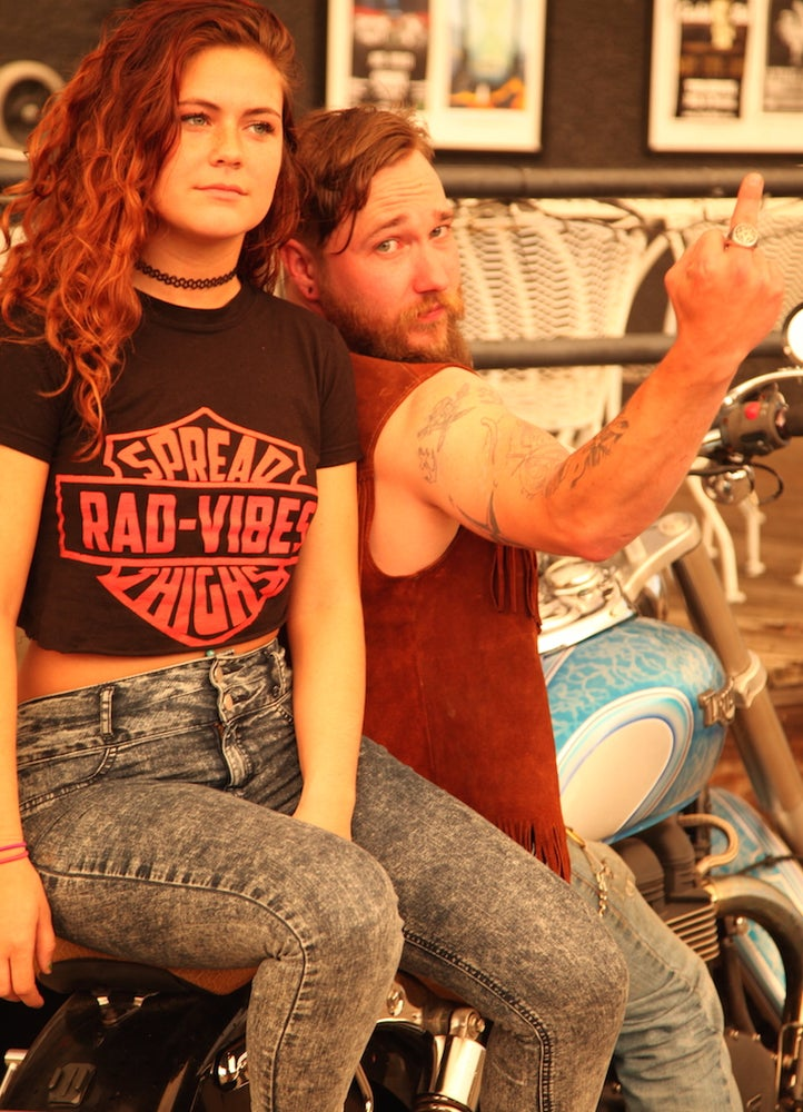 Image of RAD VIBES SPREAD THIGHS BLACK TEE and Tanks