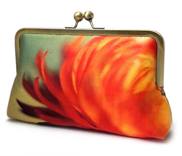 Clutch bag, printed silk purse, orange yellow handbag, FLAME FLOWER - Red Ruby Rose