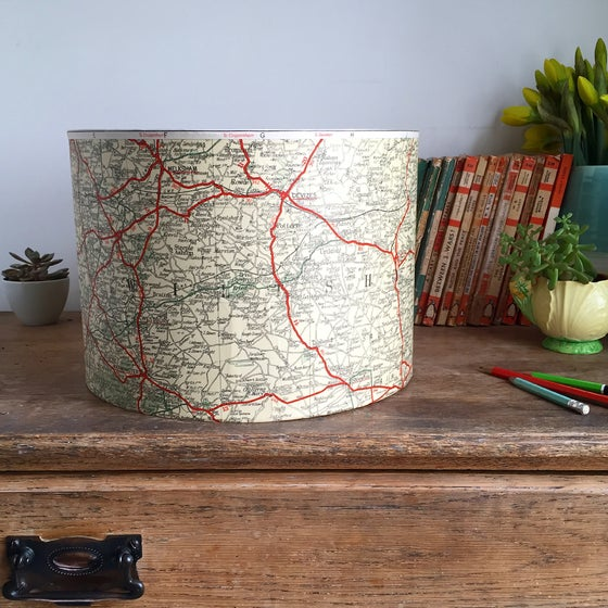 Image of Somerset and Wiltshire Vintage Map Lamp
