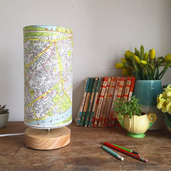 Image of Geographer's 1960's London Vintage Map Lamp
