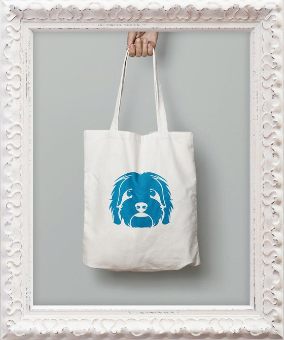 Image of Large Head Graphic Tote Bag Blue