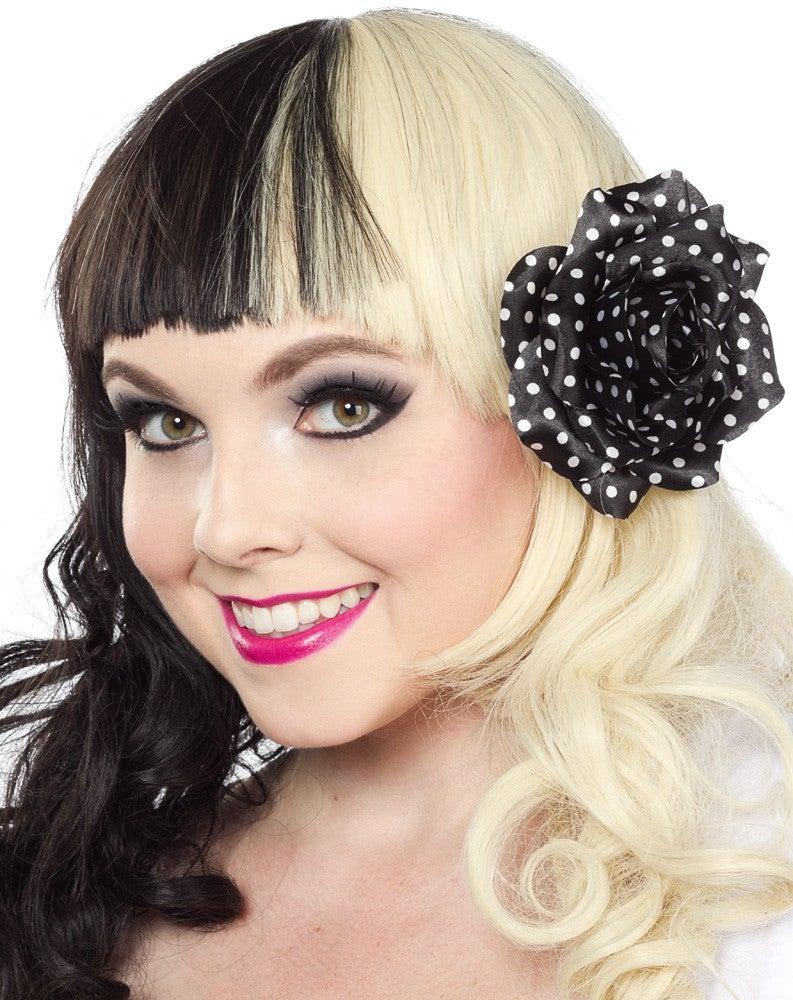 Image of Black Polka Dot Rose Hair Clip