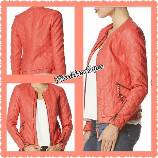 Image of Peach Leatherette Jacket