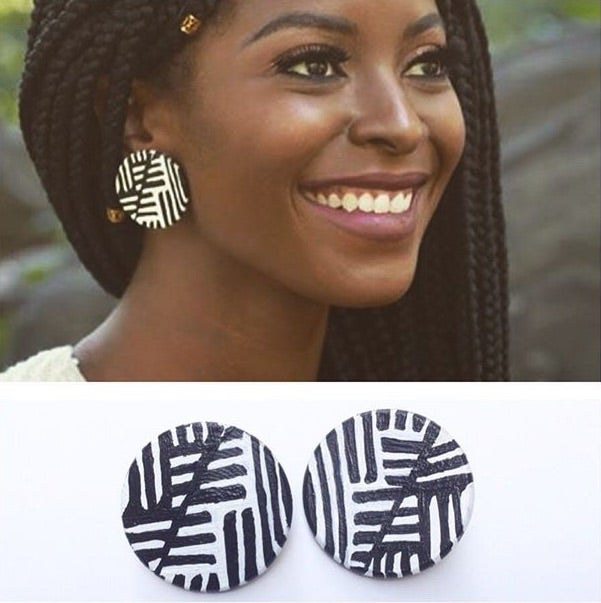Image of Tribal Print Button Earring (Youniknessdesign