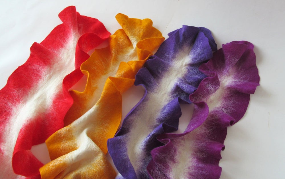 Image of Long felted ruffle layer, Felt Mat Layer Napkin Felted, Photography prop