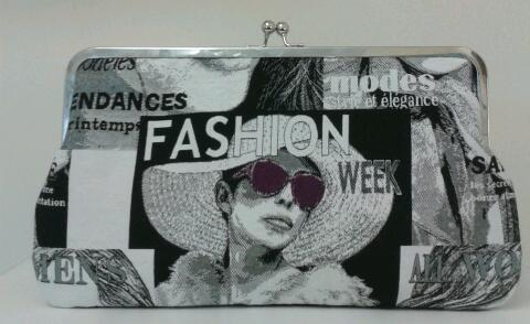 "Image of Limited edition, handmade clutch bag 12"" LARGE fashion face"