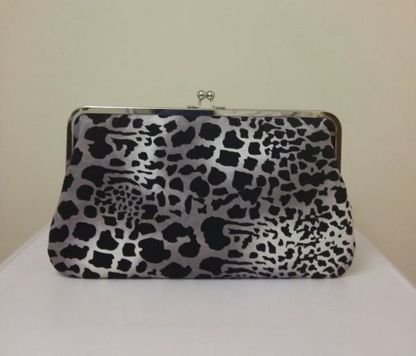 "Image of Limited edition, handmade LARGE 12"" black, white & grey pattern clutch"